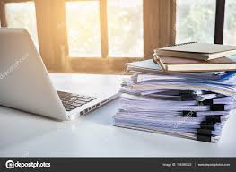 desk office file document paper. Stack Of Business Report Paper File On Modern White Office Desk \u2014 Stock Photo Document