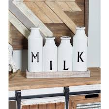 Decorative Milk Bottles Brown Decorative Tray with 100Distressed White Milk Bottles5910086 46