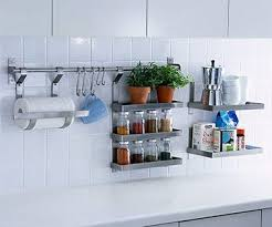 Teeny kitchen means ideas for storage off the counter.