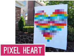 45 Free Easy Quilt Patterns - Perfect for Beginners - Scattered ... & Pixel Heart Quilt ... Adamdwight.com