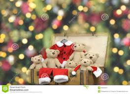 Decorative Outfit Christmas Lights Lots Of Teddy Bears And Santa Outfit In An Old Vintage