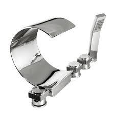 kokols 3 handle deck mount waterfall roman tub faucet in polished chrome