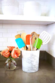 Kitchen Utensil Storage Cabinets Storages Lovable This Easy Marble Utensil Holder Diy