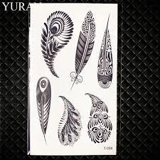 сексуальные черные племенные перья птицы временные татуировки женщины Body Arm Art