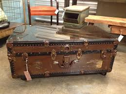 image of unique rustic trunk coffee table