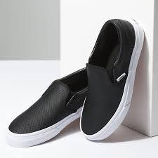 vans low top women vans perf leather slip on shoes black