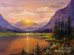 mountains painting mountain lake sunset by lou ann bagnall
