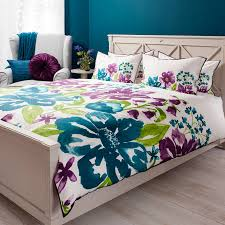 modern home white purple teal isabella watercolour king cotton duvet set