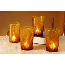 glass tumbler yellow votive tealight candle holder yellow