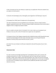 Visa Application Cover Letter Covering Letter For Singapore Business Visa Application