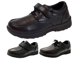 kids boys school shoes mens work black faux leather shoes casual formal size
