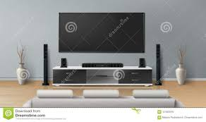 Home Tv System Design Vector Mockup Of Room With Home Theater System Stock Vector