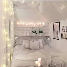 Bedroom White Brick Walls Decorated With String Lights