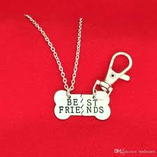 whole best friends necklace silver gold plated pet dog bone pendant necklaces keychain sets carabiner key ring for women jewelry drop ship 161852
