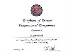 Certificate Of Appreciation Volunteer Work Johnny Prill Volunteer Work Awards Recognition