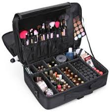 professional storage parion cosmetic box three waterproof layer travel makeup bag black