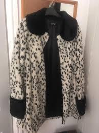 top faux fur dalmatian coat size 10