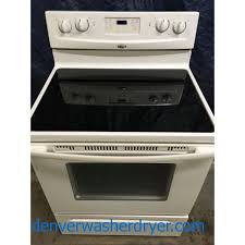 30 white free standing whirlpool glass top self cleaning electric range w