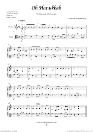 hanukkah songs collection chanukah songs sheet for violin and viola clical score