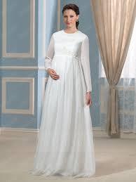 modern scoop neck long sleeves zipper up maternity wedding dress