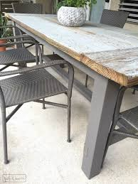 rustic outdoor table and chairs. Fascinating Outdoor Farmhouse Dining Table Diy With Reclaimed Wood Rustic And Chairs