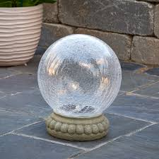 led glass solar chameleon gazing ball with table top base
