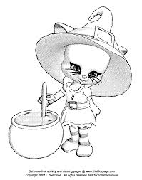 Small Picture Halloween Cat Witch Free Coloring Pages for Kids Printable