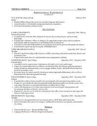 Internship Resume Sample For College Students Sample Internship