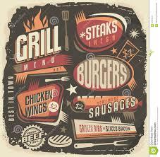retro grill menu design template stock vector image 57631147 retro grill menu design template