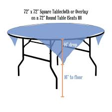 square tablecloth 72 x 72 on 72 inch round table