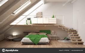 Loft Skandinavische Minimalistische Mezzanine Schlafzimmer Weiß Und