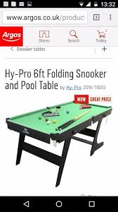 hy pro 6ft folding snooker and pool table