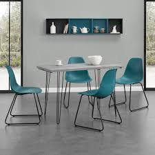 Esstisch 120x60cm Hairpinlegs Mit 4 Stühlen Türkis Kunststoff Tisch