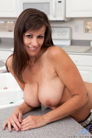Aged lady exposing nice melons in kitchen before masturbating with.