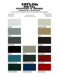 Color Chart Metal Roofing