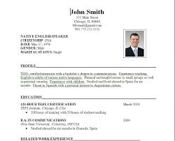 formal format of resumes