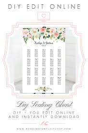 Wedding Seating Chart Poster Portrait 24x36 Blush Florals