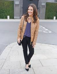 winter outfit tan leather jacket black skinny jeans houston fashion blogger lady in