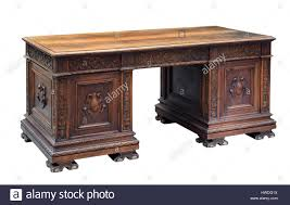 Office bureau desk Small Antique Mahogany Writing Desk With Ornate Carving On The Panels And Raised Feet For Bureau Or Office Isolated On White Alamy Antique Mahogany Writing Desk With Ornate Carving On The Panels And