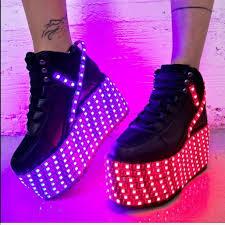 Light Up Creepers Yru Shoes Dolls Kill Yru Qozmo Hi Light Up Platforms