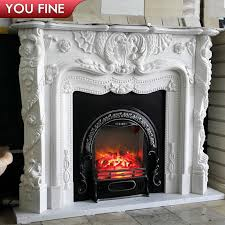 hand carved french style white marble fireplace mantels for