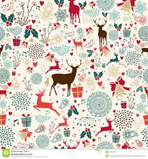 Christmas Pattern Background Magnificent Vintage Christmas Reindeer Seamless Pattern Stock Vector