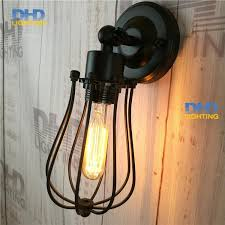 loft industrial iron cage. $48.60- Adjustable Round Cage Iron Shade Edison Wall Lamp Industrial Small Sconce Bedroom Loft