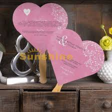 Wedding Program Fans Cheap Custom Heart Shape Wedding Invitations Card Program Fans Pink