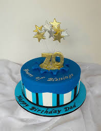 Cake Designs For Mens 70th Birthday 70th Royal Blue Gold And Silver Birthday Cake 70th