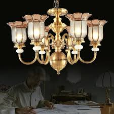 brass glass chandelier antique 6 light glass shade solid brass chandeliers for bedroom brass and glass