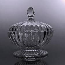 jeannette glass candy dish national pedestal crystal pattern with lid