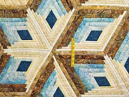 Diamond Star Quilt -- gorgeous well made Amish Quilts from ... & ... Pastel Blue and Gold Diamond Star Log Cabin Quilt Photo 4 ... Adamdwight.com