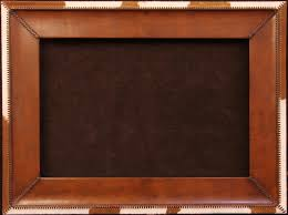 handmade leather frame with cowhide trim hand stitched leather lacing 6 inches wide