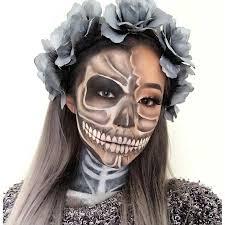 grey skeleton makeup look for